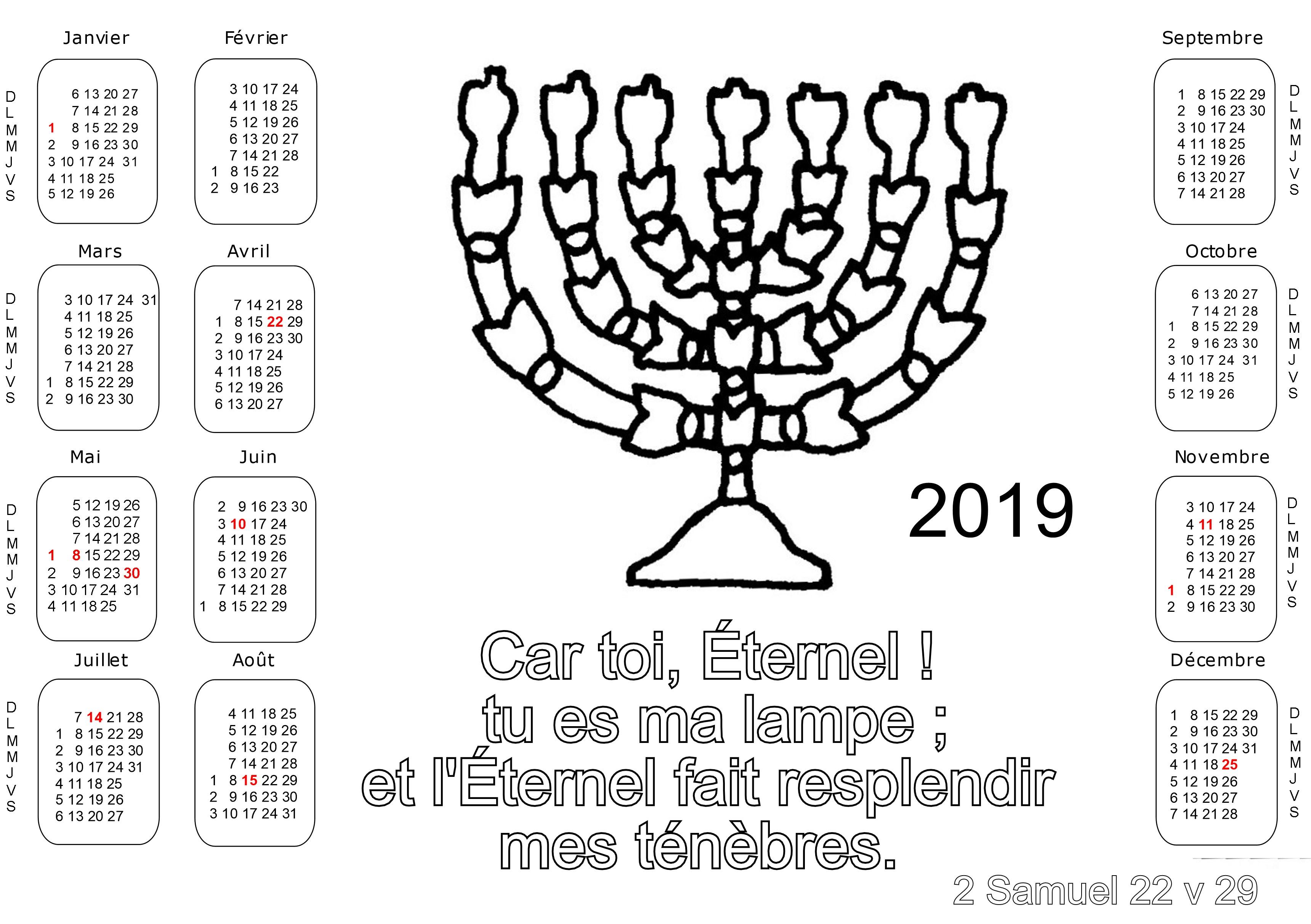 Calendrier Biblique.Coloriages De Calendriers Pour L Annee 2019 Avec Des Versets